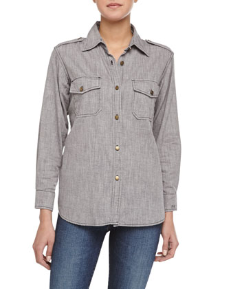 The Perfect Woven Chambray Shirt, Gray