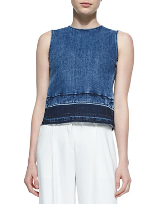Reli D Frayed Sleeveless Denim Top & Onark Pleated Wide-Leg Crepe Pants ...