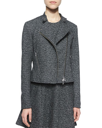Kinde Asymmetric-Zip Twill Jacket & Tillora A-Line Dress