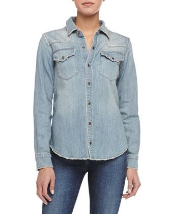 The Social Western Sun Shirt, Blue