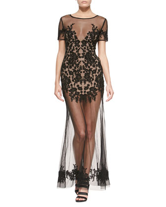 Luau Lace-Embroidered Mesh Maxi Dress