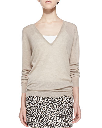 Cashmere V-Neck Lightweight Sweater