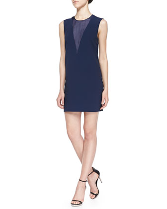 Finland Sheer-Panel Dress, Navy