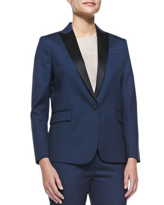 Savy Two-Tone Wool-Crepe Blazer