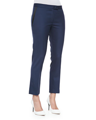 Savvy Wool Suiting Pants, Navy/Black