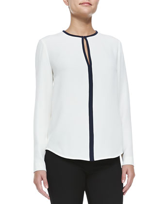 Bibby Contrast-Trim Blouse, Off White/Navy