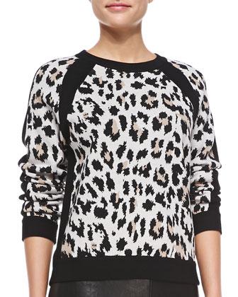 Raglan Leopard-Print Sweater, Camel