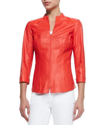 Leather 3/4-Sleeve Zip Shirt Jacket