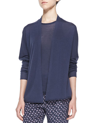 Cashair Drop-Sleeve Cardigan, Ink