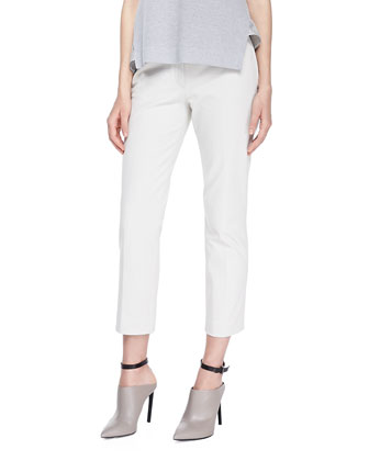 Queen Gabardine Straight-Leg Pants, Stone