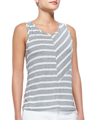 Debardeur Patchwork Striped Tank Top, Gray/Ecru