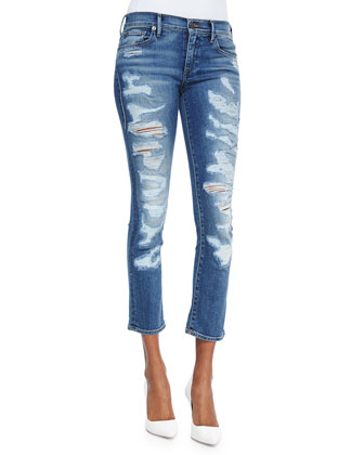 Cora Cropped Distressed Denim Jeans