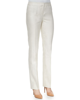 Barrow Linen Straight-Leg Pants, Raffia