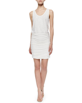 Bond Ruched-Skirt Blouson Dress, White