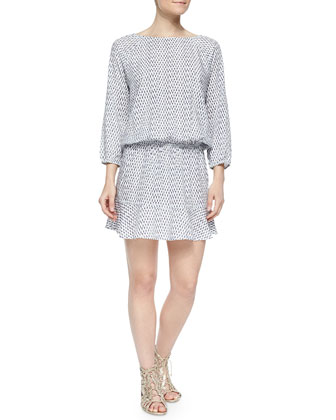Arryn B Long-Sleeve Printed Dress