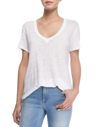 Le Boyfriend Linen V-Neck T-Shirt & Le High Flare Denim Jeans