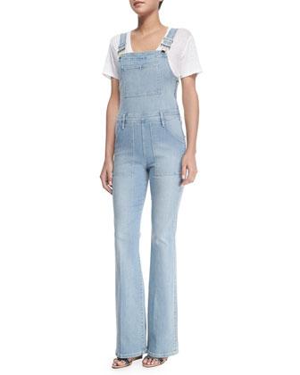 Le High Flare Denim Overalls & Le Boyfriend Linen V-Neck T-Shirt