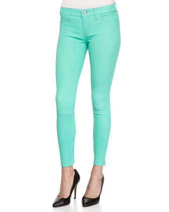 Vegetable-Dyed Leather Mid-Rise Cropped Jeans