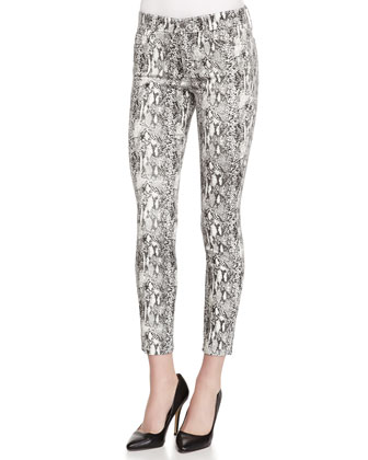 Mid-Rise Python-Print Skinny Ankle