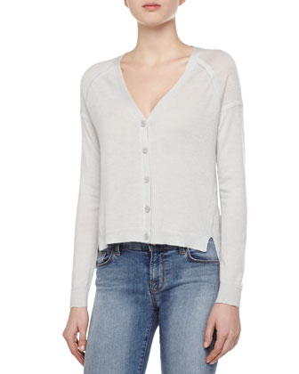 Gia Cashmere Long-Sleeve V-Neck Cardigan Sweater