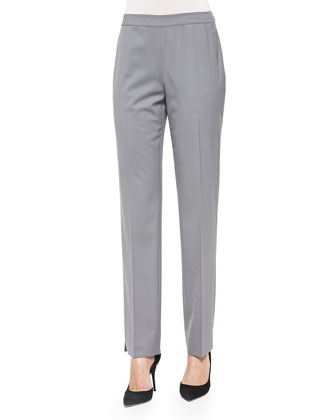Bleecker Stretch Wool Side-Zip Pants, Rock
