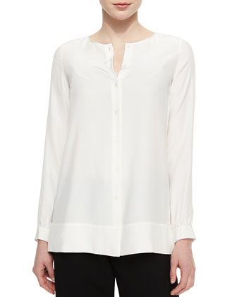 Rizalina Long-Sleeve Silk Blouse, Cloud