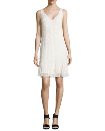 Sleeveless Beaded Godet Cocktail Dress