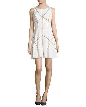 Sleeveless Mesh-Inset Cocktail Dress, Ivory