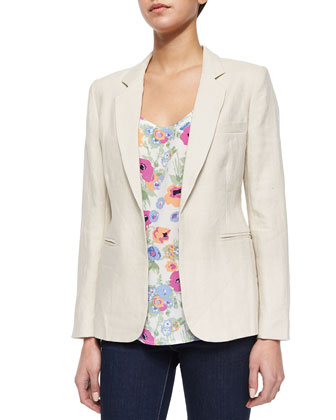 Mehira Long-Sleeve Linen Blazer, Ardson Loose Uneven Tank Top & Merci ...
