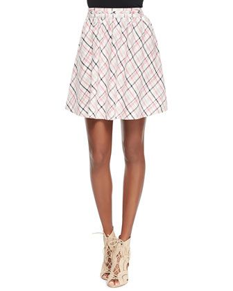 Kaylea Woven Pleated Printed Skirt