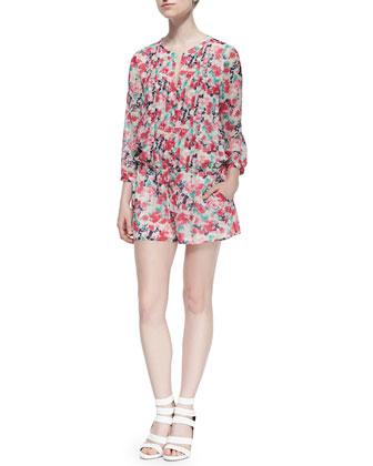 Amara C Floral-Print Silk Jumpsuit