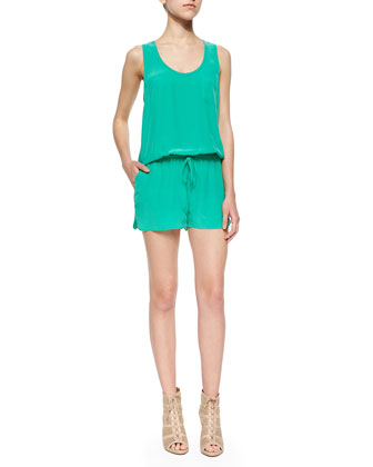Essonne Sleeveless Silk Short Jumpsuit
