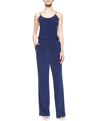 Lundy Wide-Leg Silk Jumpsuit