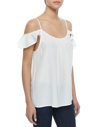 Cateline B Braid-Trim Silk Top