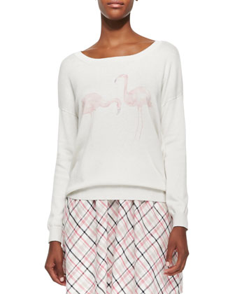 Jensine Boat-Neck Flamingo-Graphic Sweater