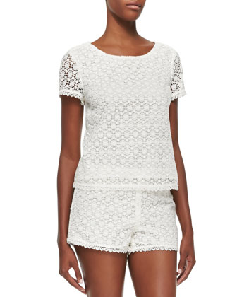 Alsace Short-Sleeve Lace Top