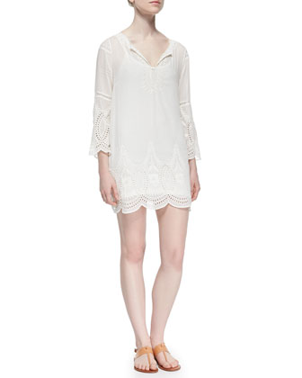 Marne Embroidered Eyelet Voile Dress