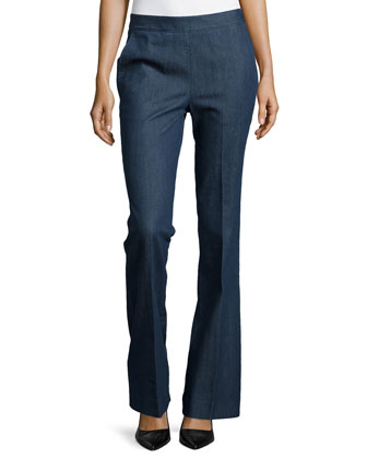 Stretch Denim Flared Trousers