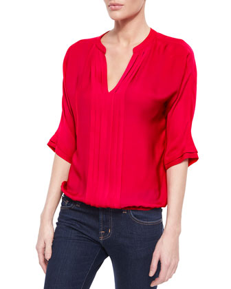 Marru Pleated-Front Silk Blouse
