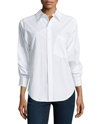 Cotton Shirt with Rolled Sleeve Detail