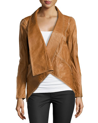 Leather Jacket with Stretch Jersey Inset