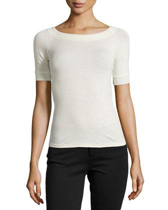 Short-Sleeve Slim Top, Parchment