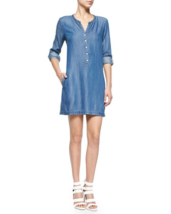 Eguine Tab-Sleeve Denim Shirtdress