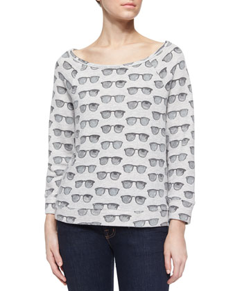 Banner Sunglasses-Print Jersey Top, Heather Gray