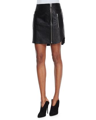 Leather Zip Biker Skirt