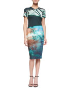 Abstract Tree-Print Sheath Dress