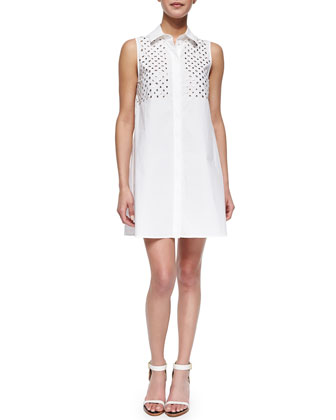 Studded-Yoke Button-Front Shirtdress, Optic White
