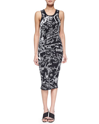Chalkboard Graffiti Jacquard Tank Dress, Black