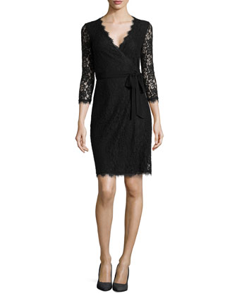 Juliana 3/4-Sleeve Lace Wrap Dress, Black