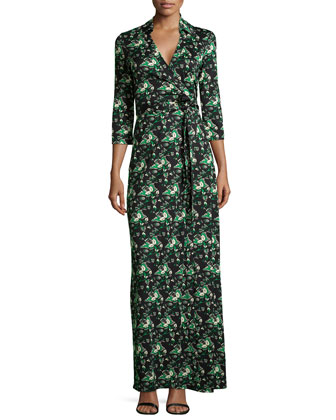 Abigail Floral Jersey Maxi Wrap Dress
